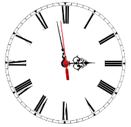 A clock face, showing the time